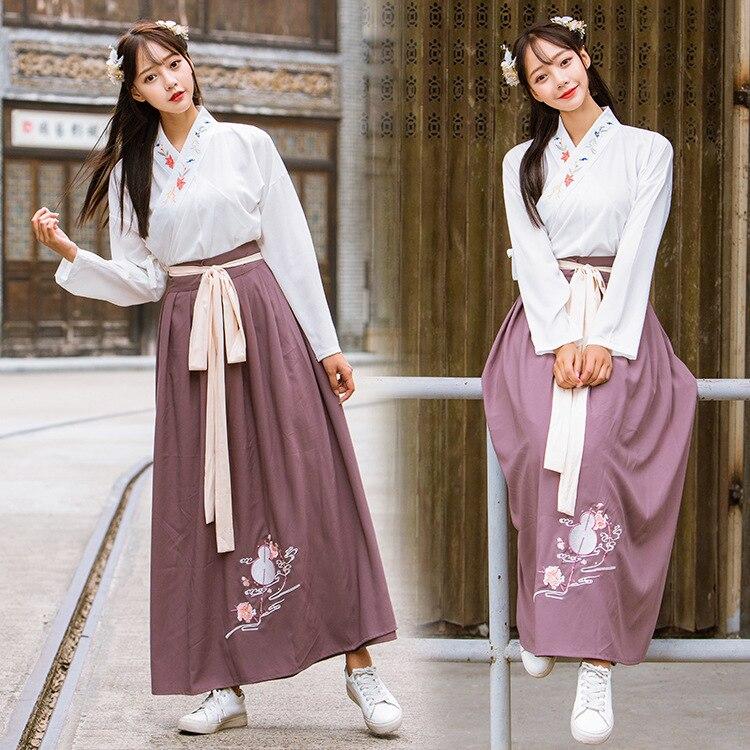 الشتاء هان عنصر المرأة الجديدة الأصلي نصف الذراع عبر طوق Hanfu المرأة القديمة التطريز رو تنورة طالب دعوى