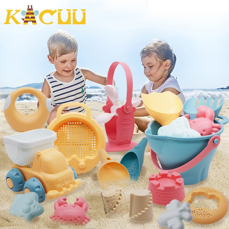 Summer Silicone Soft Baby Beach Toys Baby Beach Game Toy Children Sandbox Set Kit Summer Toy for Beach Play Sand Water Play Cart