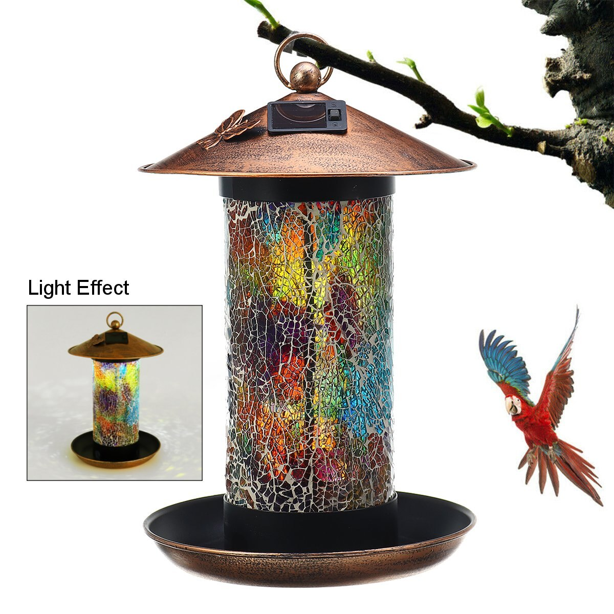 Solar Powered Gazebo Hanging Wild Bird Feeder Solar Lamp Light Garden Outdoor Lamp Patio Balcony Decoration Bird Accessories