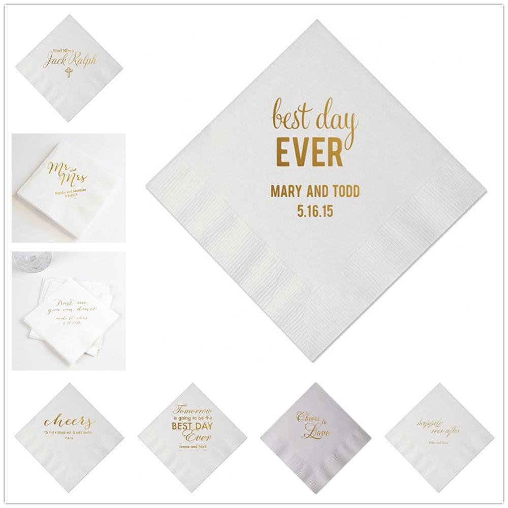 100Pcs Personalized Wedding Paper Napkins Custom Mr & Mrs Cocktail Beverage Paper Serviette Baby Shower Table Decor Napkins