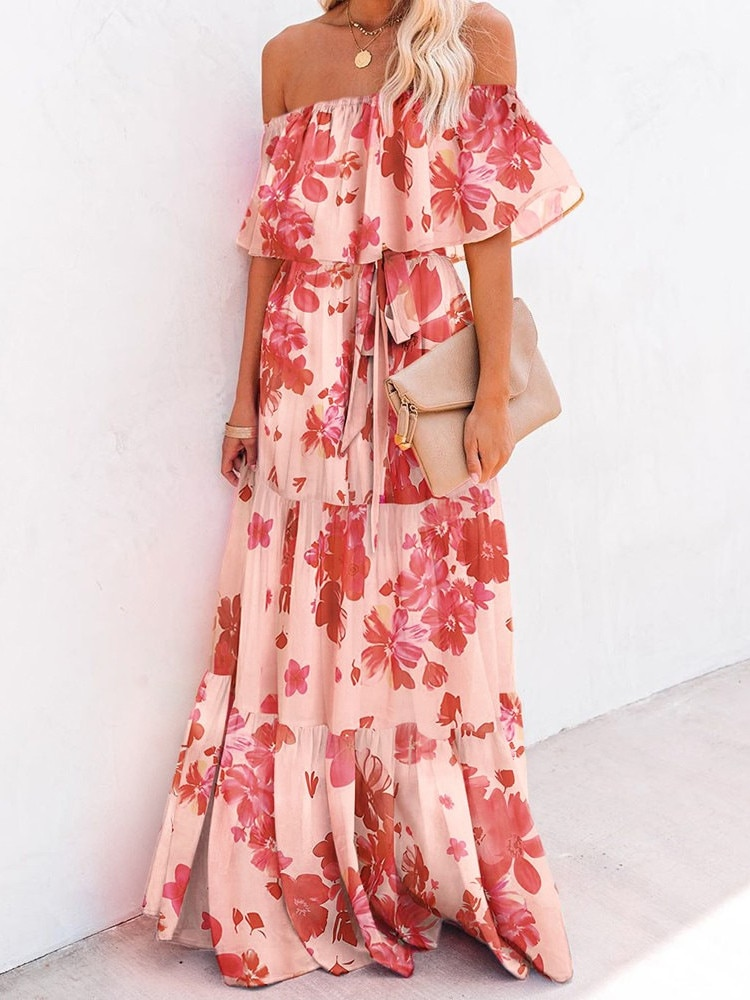 Boho Floral Print Wrapped Breast Gradient Color Women Long Beach Dress Frill Belt Lace Up Beach Cover Up Summer Vacation Dress retro floral print skater pin up dress