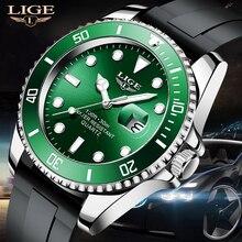 LIGE Men Watch Waterproof Luminous Top Brand Luxury Watches  Silicone Strap Quartz Wristwatch Spor f