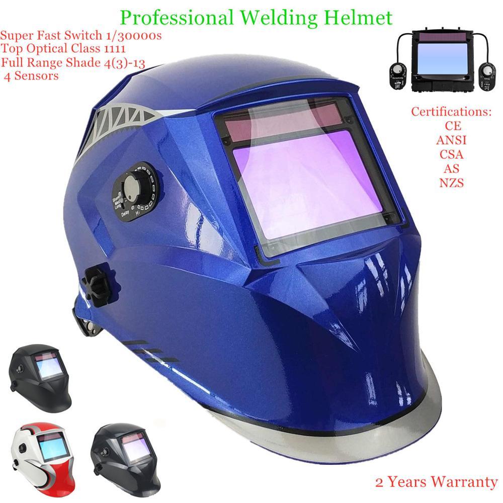 Máscara de soldagem 100*65mm 1111 4 sensores din 3/4-13 mma mig tig en 379 ul csa como capacete de soldagem solar escurecimento automático