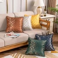4545cm ginkgo leaf pattern throw cushion cover living room decorative pillowcover satin jacquard fabric pillowcase 40796