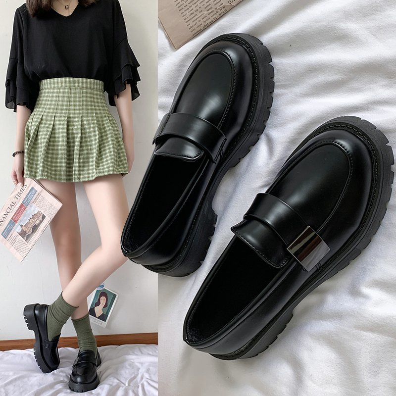 Woman Solid Black PU Leather Loafers 2021 Casual Women Slip on Flats Round Toe Platform Shoes round toe pu leather loafers with faux fur