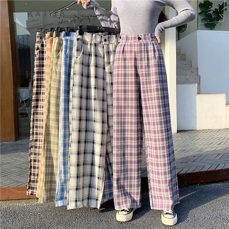 Plus Size Plaid Casual Pants Harajuku Korean Fashion High Waist Wide Leg Baggy Straight Vintage Loose Trousers 2021 Streetwear
