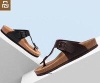 Youpin Aishoes men Classic pinch cork Sand drag Comfortable Summer Slippers Anti-slip Beach Sand Flat Heel Sandals home