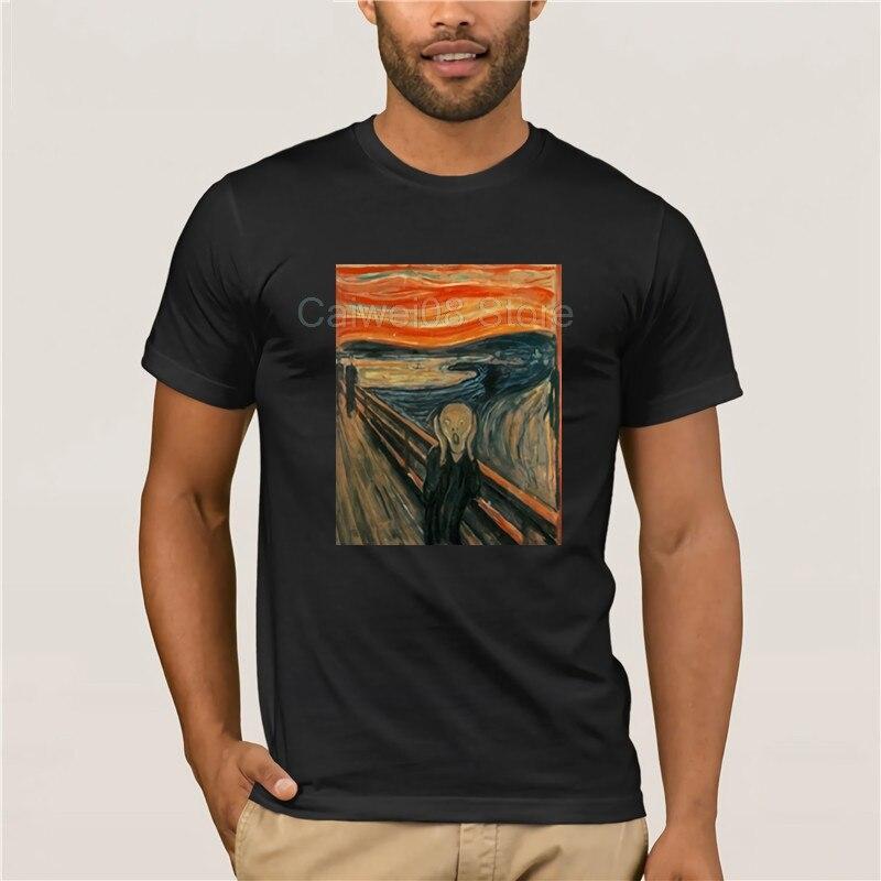 Fashion summer T-shirt Brand Men Edvard Munch The Scream Famous Painting Hip Hop Tees Top Cotton fashion 2019 trend T-shirt