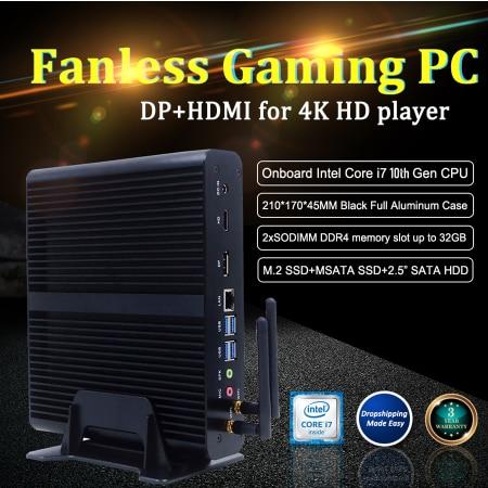 Nuevo 10th GEN sin ventilador Mini Intel i7 10710U 10510U PC de escritorio Windows 10 12 * DDR4 M.2 NVMe + Msata + 2,5 SATA 4K HTPC Nettop HDMI DP