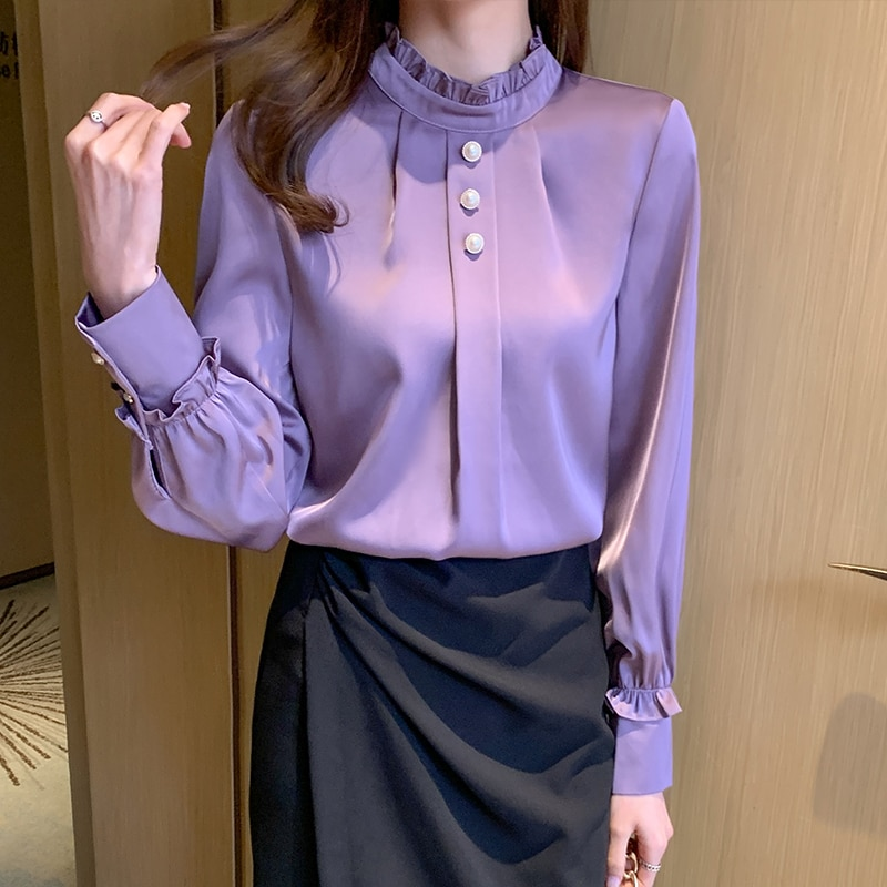 Корейские женские шелковые блузки рубашки женские атласные блузки Топы женские рубашки с длинным рукавом женская блузка с бисером рубашка ...
