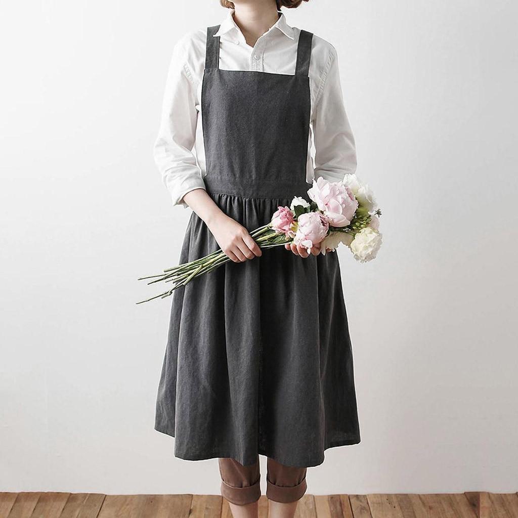 Mujeres vestido de lino sin mangas Casual coreano playa hogar cocina florista lindo babero mandil delantal vestido femenino Vestidos 2020 #45