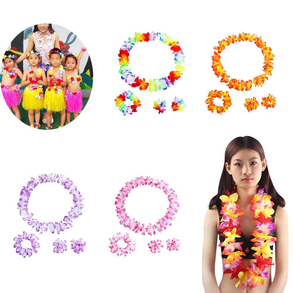 4 pçs grinalda festa havaiana flores artificiais lei garland colar hawaii praia flores luau verão tropical decoração de festa