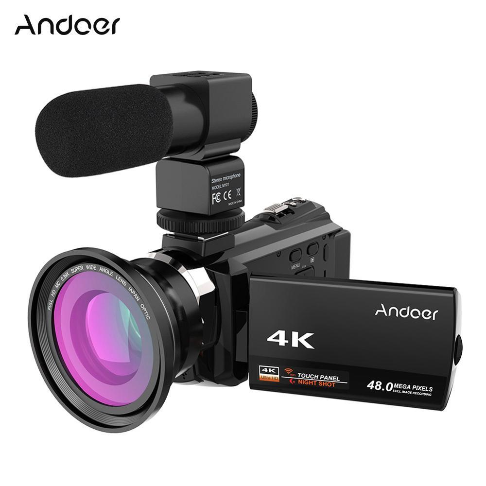 Andoer 4 k 1080 p 48mp wifi câmera de vídeo digital filmadora gravador com 0.39x grande angular lente macro microfone novatek 96660 chip