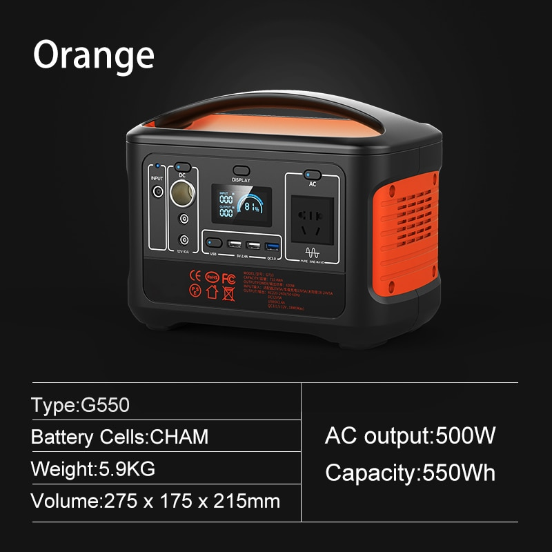 SUGINEO 550Wh Portable Power Station AC220V for Emergency Blackoff Nice Supply Outdoor Camping Sport Solar Panel Plug Generator