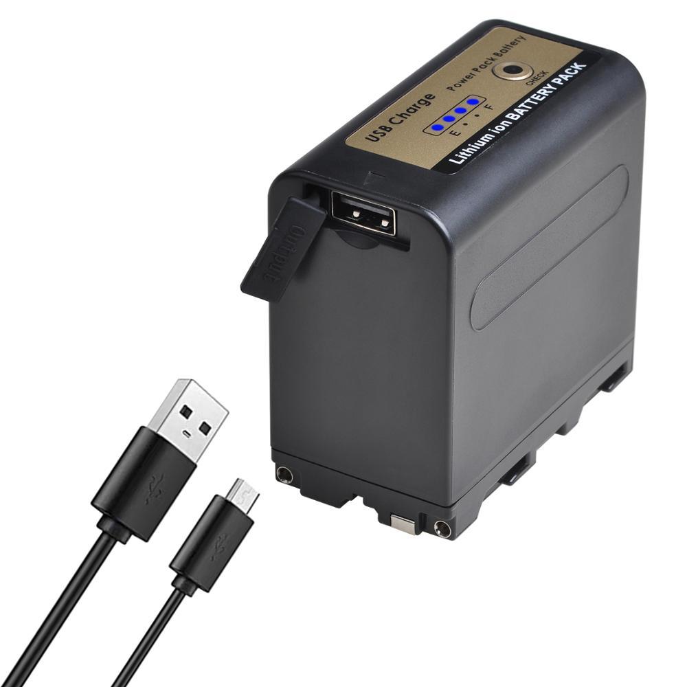 Sortie USB 7800mAh NP-F970 NP NP-F960 F960 F970 Batterie avec ALIMENTATION LED Indicateur Pour Sony F960 F550 F570 F750 F770 MC1500C 190P