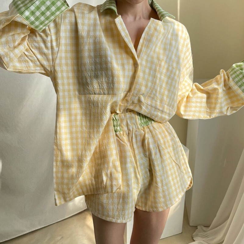 Korean Long Sleeve T-shirt Style Lapel Contrast Plaid Long Sleeve Shirt High Waist Casual Shorts Hom