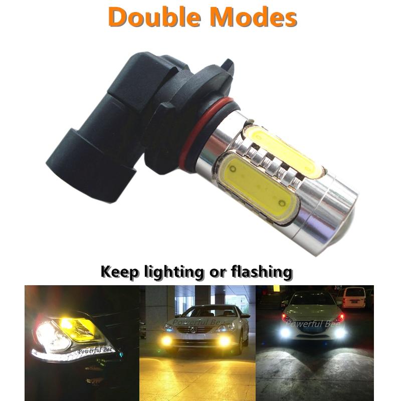 2 modos dobles de flash y iluminación de 15W LED DC12V luces antiniebla DE COCHE bombilla Blanca Amarilla azul hielo HB3/9005 HB4/9006