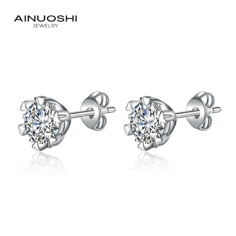 AINUOSHI Round Cut 6.5mm Simulated SONA Diamond Simple Stud Earrings For Women Copper Gilded Jewelry Gift