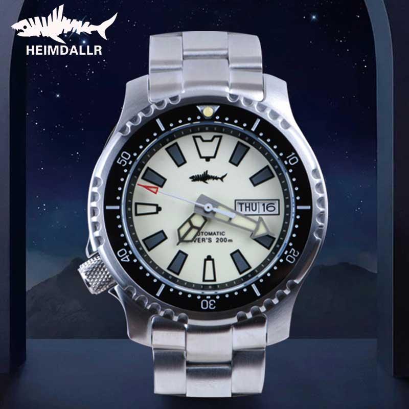 Heimdallr-ساعة غوص أوتوماتيكية للرجال ، كريستال الياقوت C3 ، سوبر بانورامية مضيئة ، 200 متر ، مقاومة للماء ، اليابان NH36A ، ساعة ميكانيكية