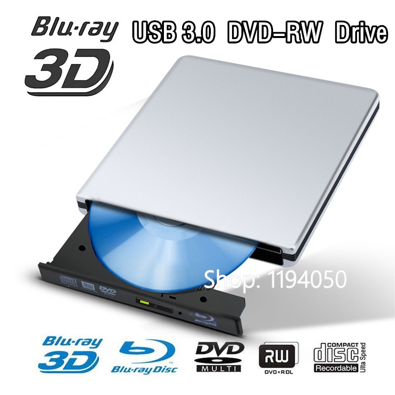 Blu-ray-Unidad de Blu-ray de aluminio, Ultra delgada, externa, USB 3,0, quemador de...