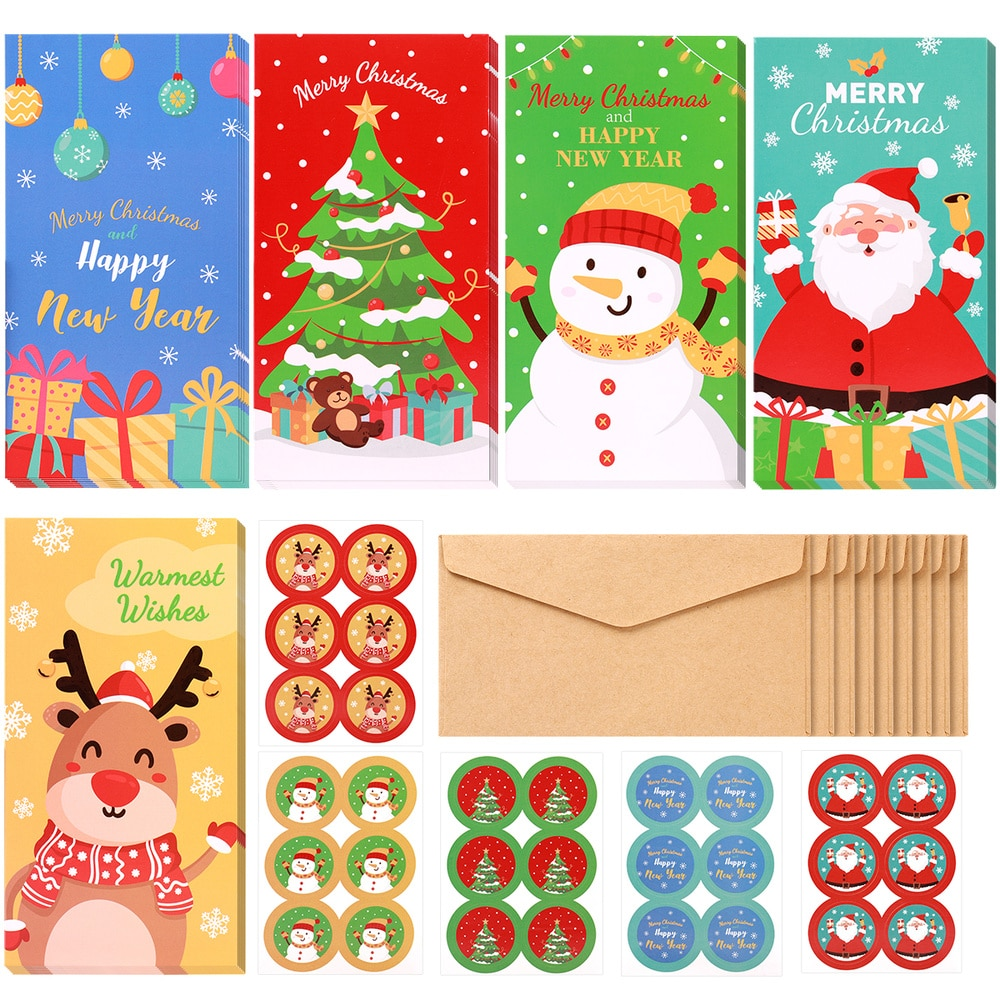 PRETYZOOM 30pcs Christmas Gift Cards with Envelopes 30-count Set Xmas Money Wallet 5 Patterns Greet Cards with Holders and