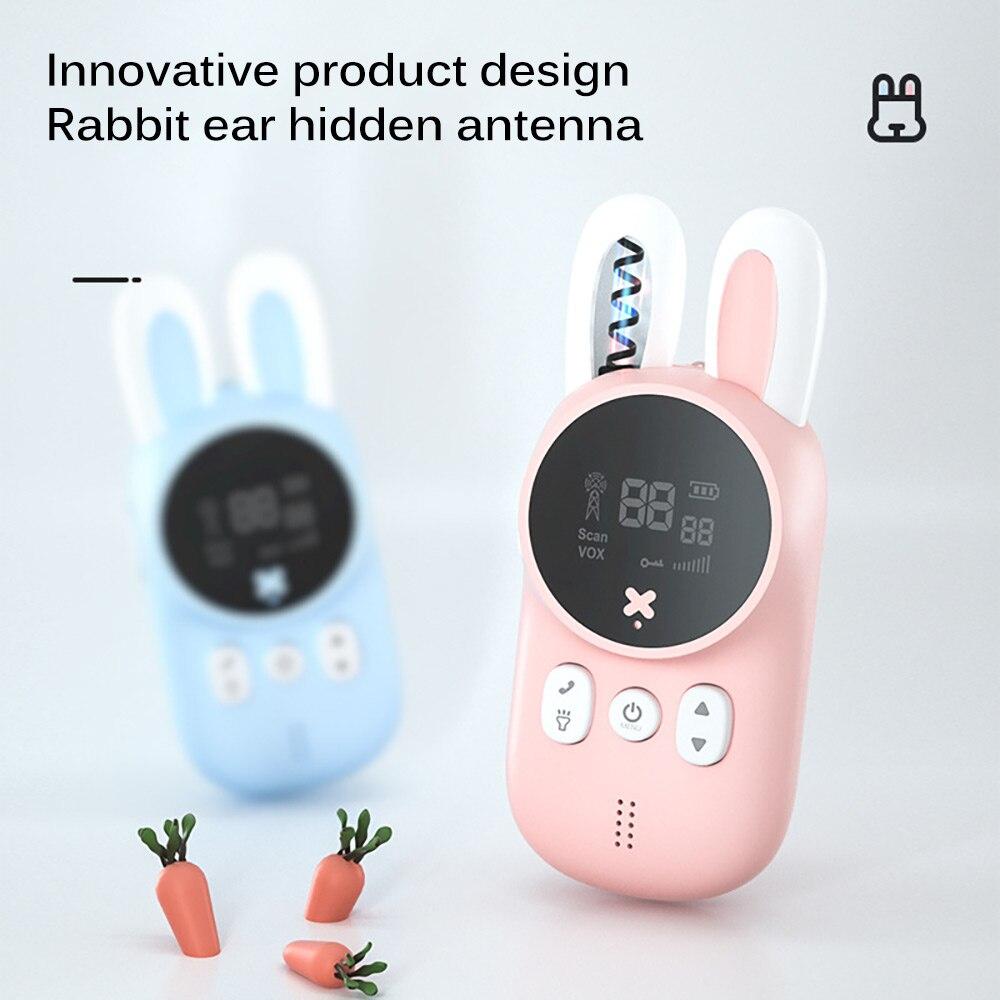 2pcs/Set Portable Handheld Kids Walkie Talkies Kids Toy Cute Rabbit Walkie Handheld Parent-Child Educational Interactive Toy