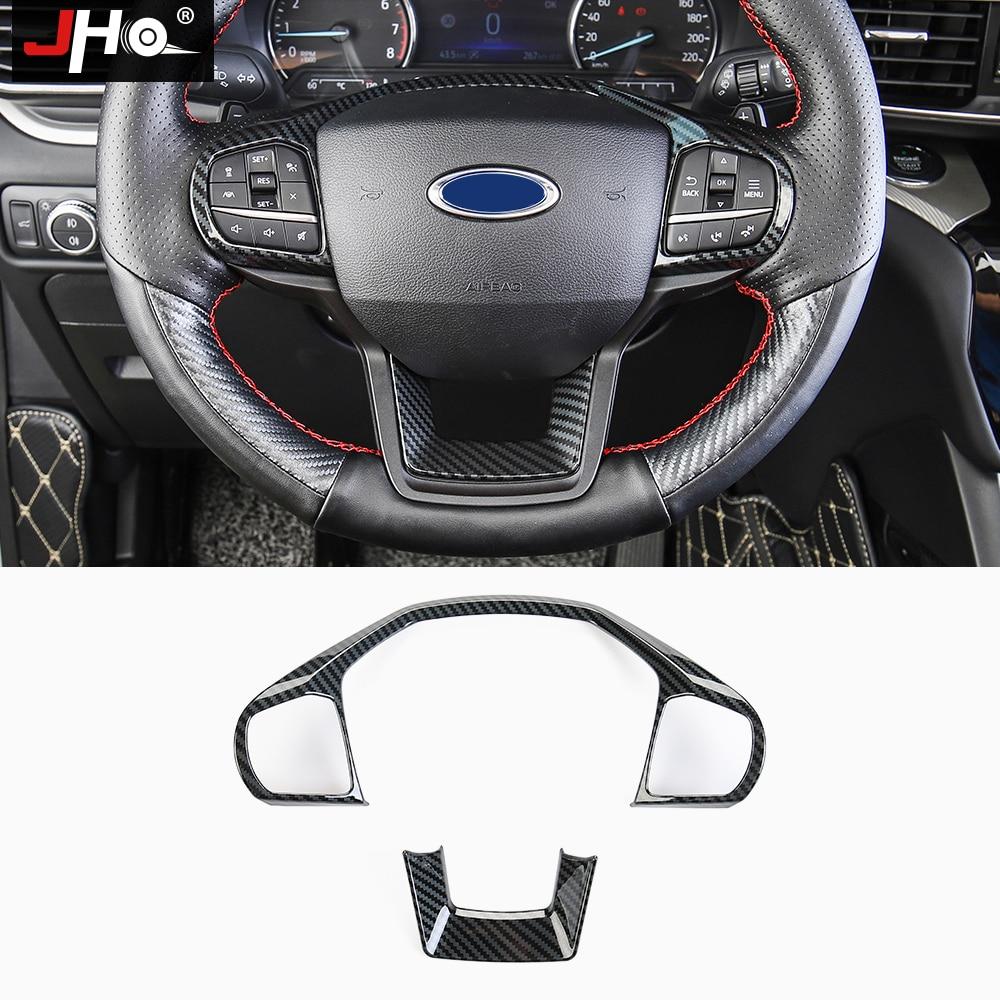 Jho grão de carbono volante do carro quadro capa guarnição sobreposição moldura para ford explorer 2020 xlt limitada platina acessórios