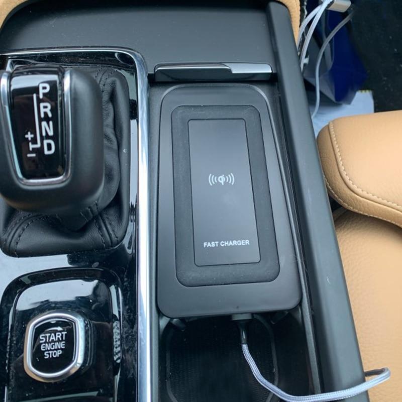 10w سيارة شاحن لاسلكي تشى ل فولفو XC90 S90 V90 XC60 V60 C60 2018 2019 2020 شحن لوحة شاحن الهاتف اللاسلكي اكسسوارات