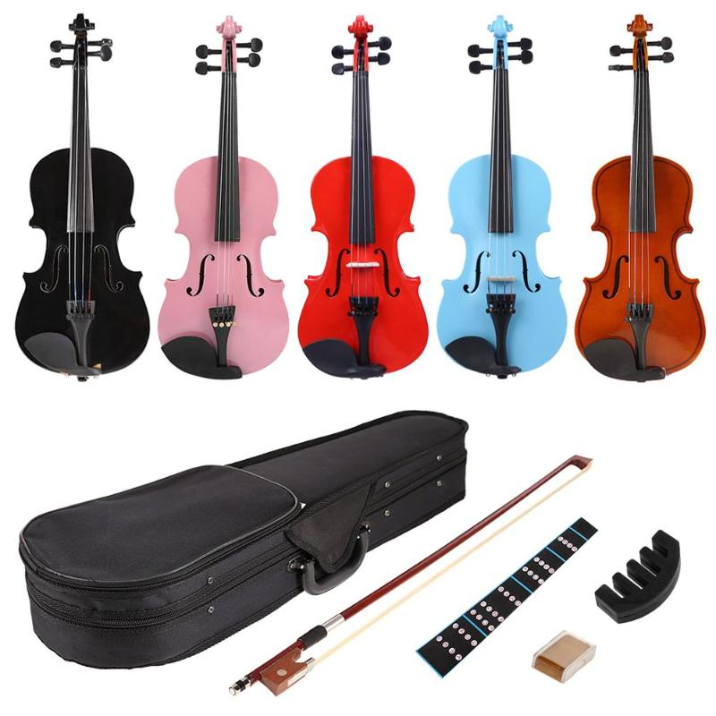 Praktyczne strona główna skrzypce akustyczne zestawy skrzypce Exerciser korpus wykonany z lipy, z powrotem talerzyk na pieczywo klon głowy 1/8 szyna z przypadku łuk