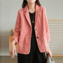 NINI WONDERLAND 2021 Autumn Cotton Linen Vintage Short Blazers Women Long Sleeve Korean Style Casual