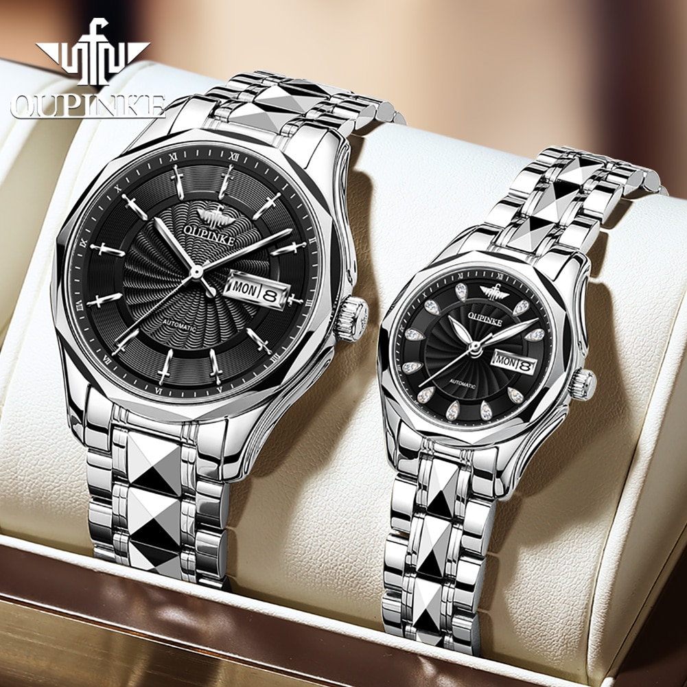 Couple automatic mechanical wristwatch business casual style with tungsten steel watchband luminous luxury brand lover's watch parnis pilot iin seriers luminous mens leather watchband fashion automatic self wind mechanical watch wristwatch