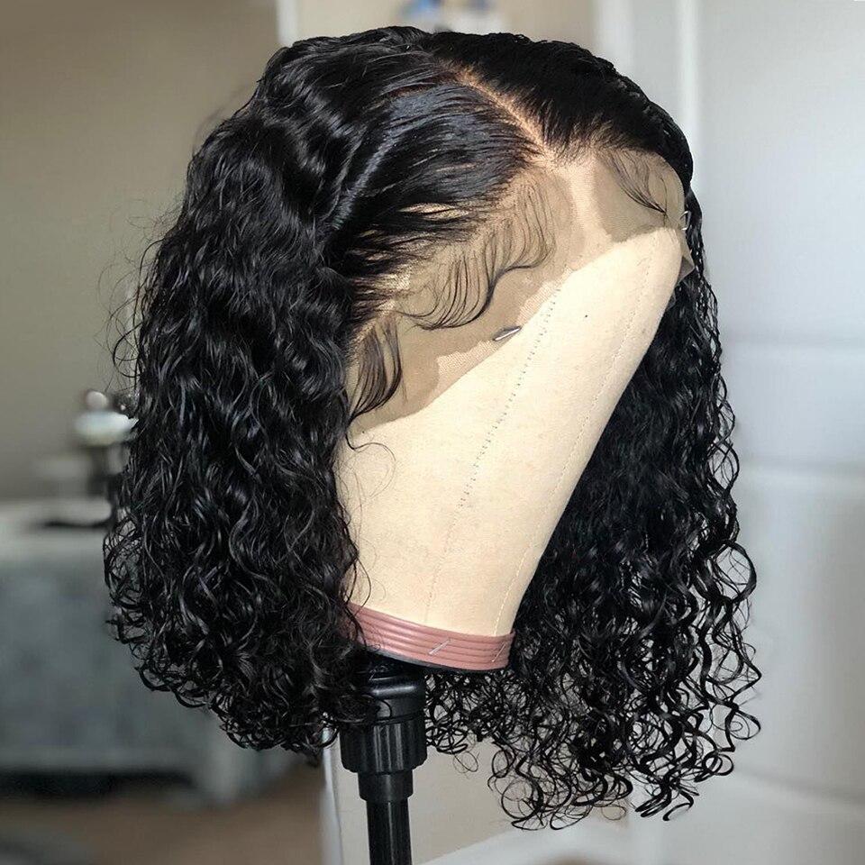Pelucas de cabello humano 13x4 Bob corto rizadas 150% con encaje frontal para mujeres negras desplumadas, nudos de lejía brasileña Remy con proporción media, cabello Slove