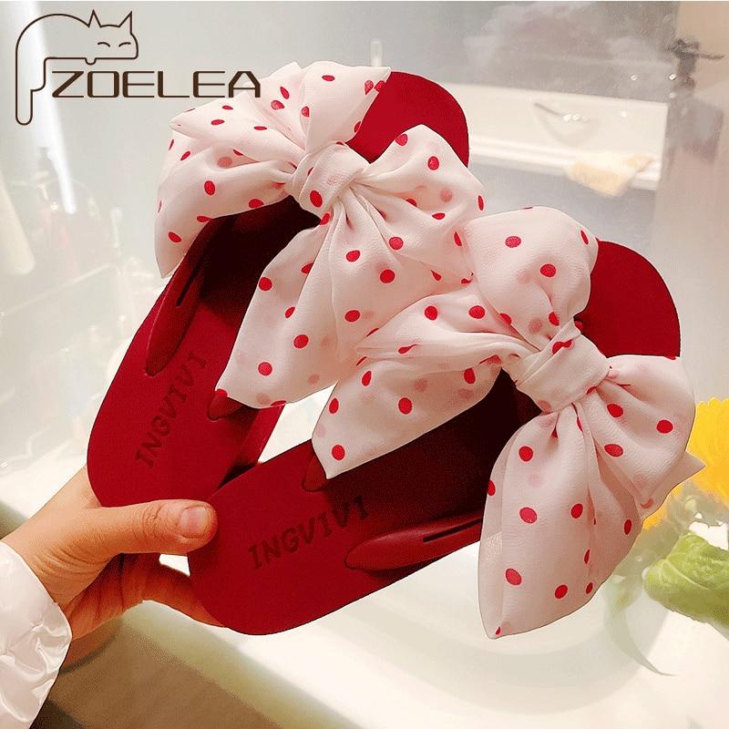 ZOELEA Women Polka Dot Big Bowknot Platform Flip Flops Non-Slip Beach Shoes Women Slippers 2021 New Heels Sandals For Summer