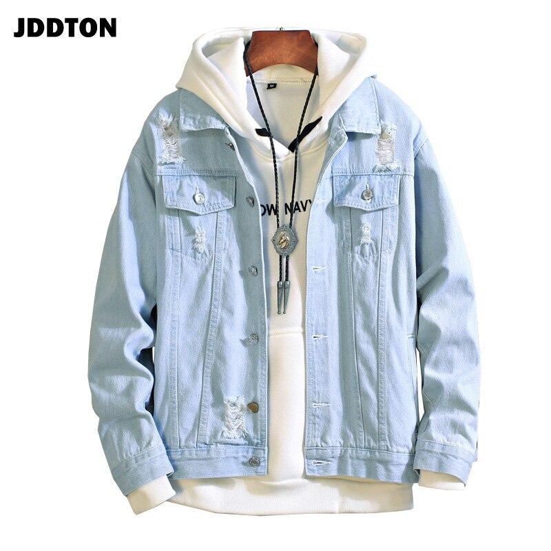 JDDTON New Men's Bomber Jeans Jackets Slim Fit Casual Fashion Vintage Denim Overcoats Male Hip Hop Outwear Streetwear JE120