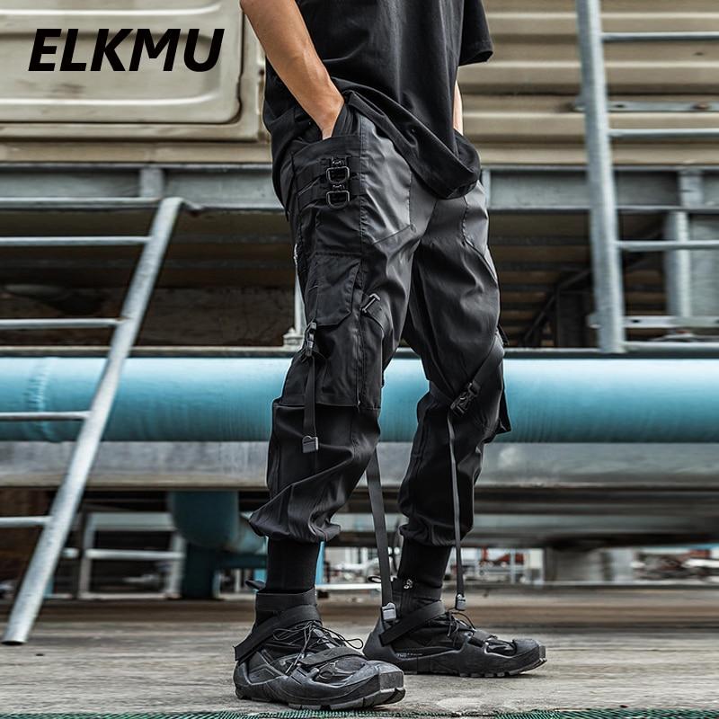 Брюки-карго ELKMU мужские тактические, уличная одежда, джоггеры, модные спортивные штаны с несколькими карманами и лентой, с эластичным поясом...