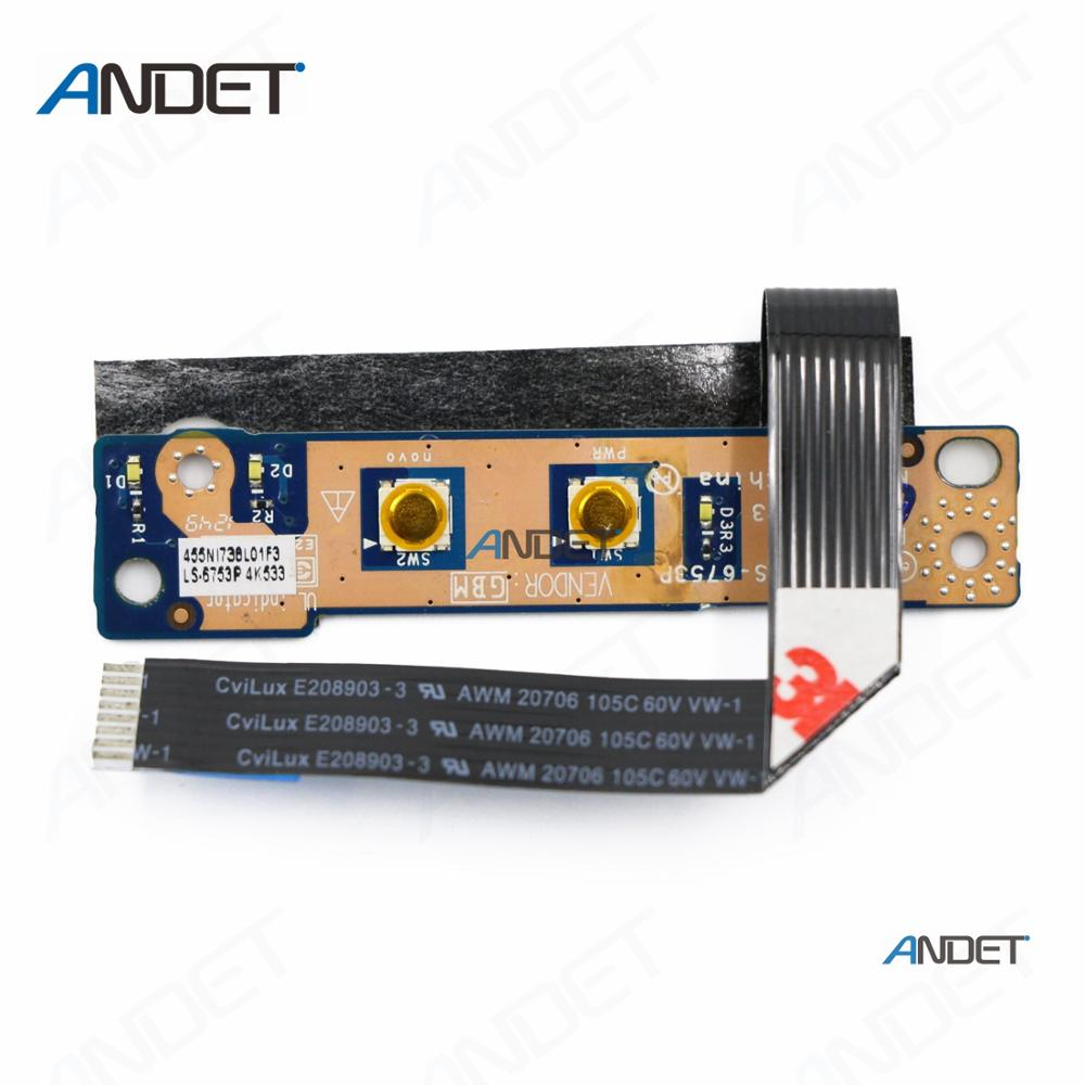 Novo Laptop Original Power Switch ON OFF Button Board para Lenovo G470 G475 G570 9 centímetros G575 Com Cabo e 13.5 centímetros LS-6753P