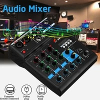 4 channels usb audio mixer amplifier console bluetooth compatible record phantom with sound card for karaoke stage karaoke ktv