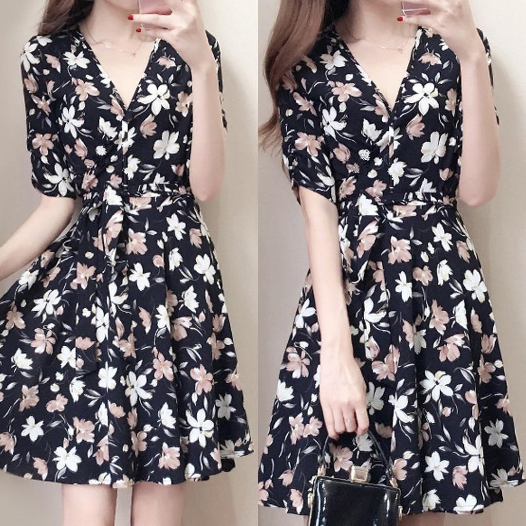 Floral Pattern Print Dress Women V-neck Office Dress Female Summer Holiday Wind Lady Short-sleeved Party Dresses 2020 #R10