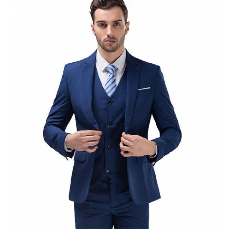 بدلة عمل غير رسمية للرجال ، أزياء زرقاء مخصصة ، بدلة للعريس ، أزياء رجالية جديدة