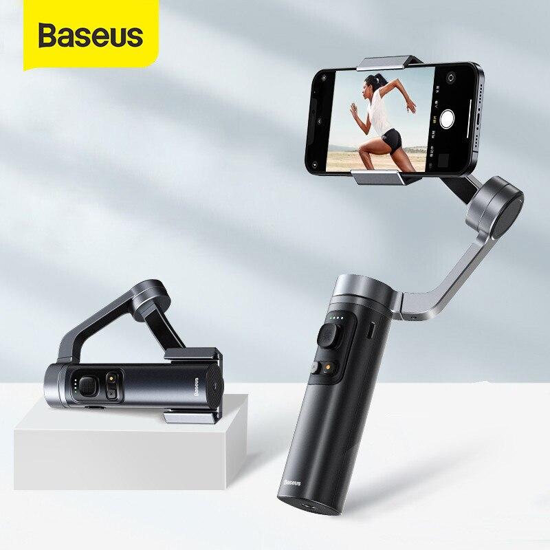 باسيوس قابلة للطي يده Gimbal 3-محور جيب الحجم مثبت الهاتف Gimbals Selfie عصا ل IOS/أندرويد كاميرا المحمول Vlog