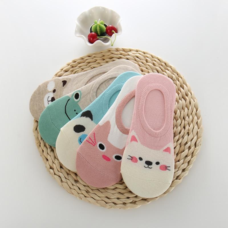 5 pares mulheres meias doces cor pequeno animal dos desenhos animados padrão barco meia para o verão respirável casual meninas engraçado invisível meias