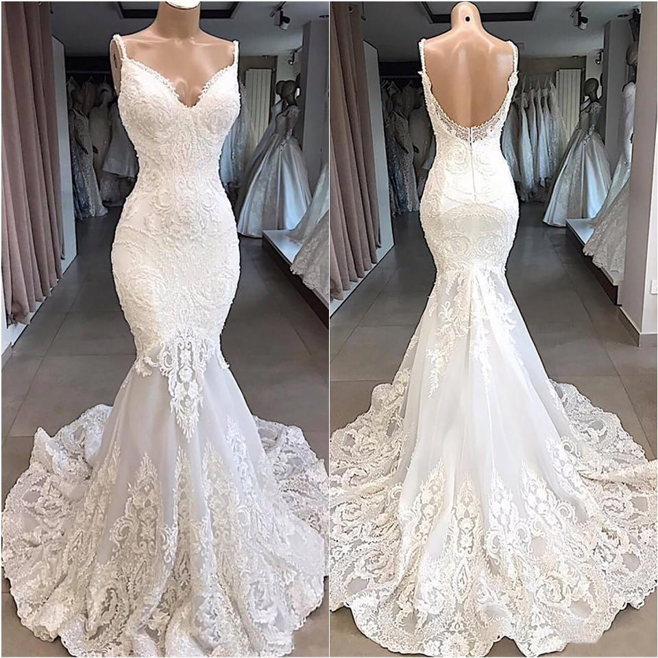 Summer White Bohemian Beach Mermaid Wedding Dresses 2019 Lace Satin Jewel Lapel Bridal Gowns Sweep Train Length
