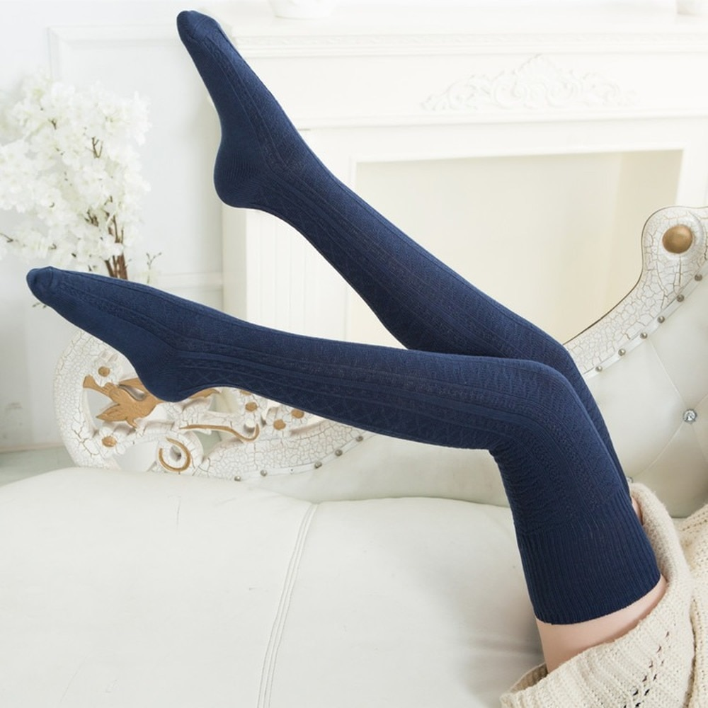 Women Cotton Over Knee Socks High Tube Thick Needle Twist Length Autumn Winter Jacquard Casual Solid Long Socks Lolita Kawaii