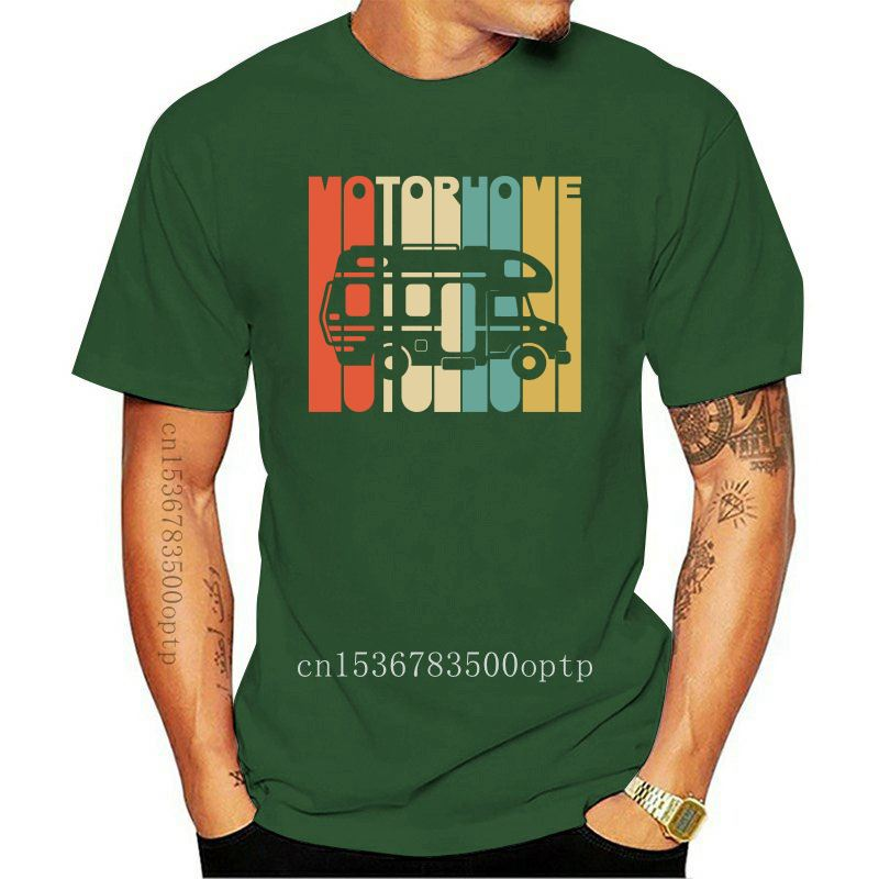 New Men's High Quality Custom Printed Tops Hipster Tees Vintage Style Motorhome Silhouette T-shirt