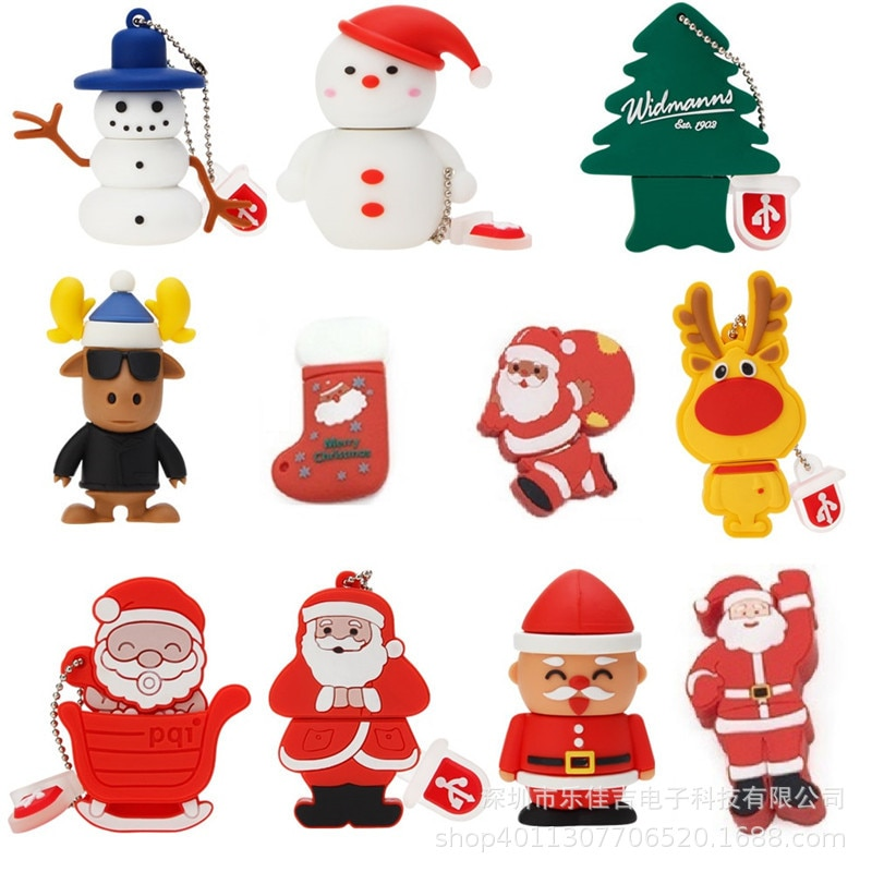 Popular Usb Flash Drive Christmas Tree Santa Flash Drive 128GB Real Capacity Flash Memory Card 2.0 Pendrive 256G 512GB Pen Drive