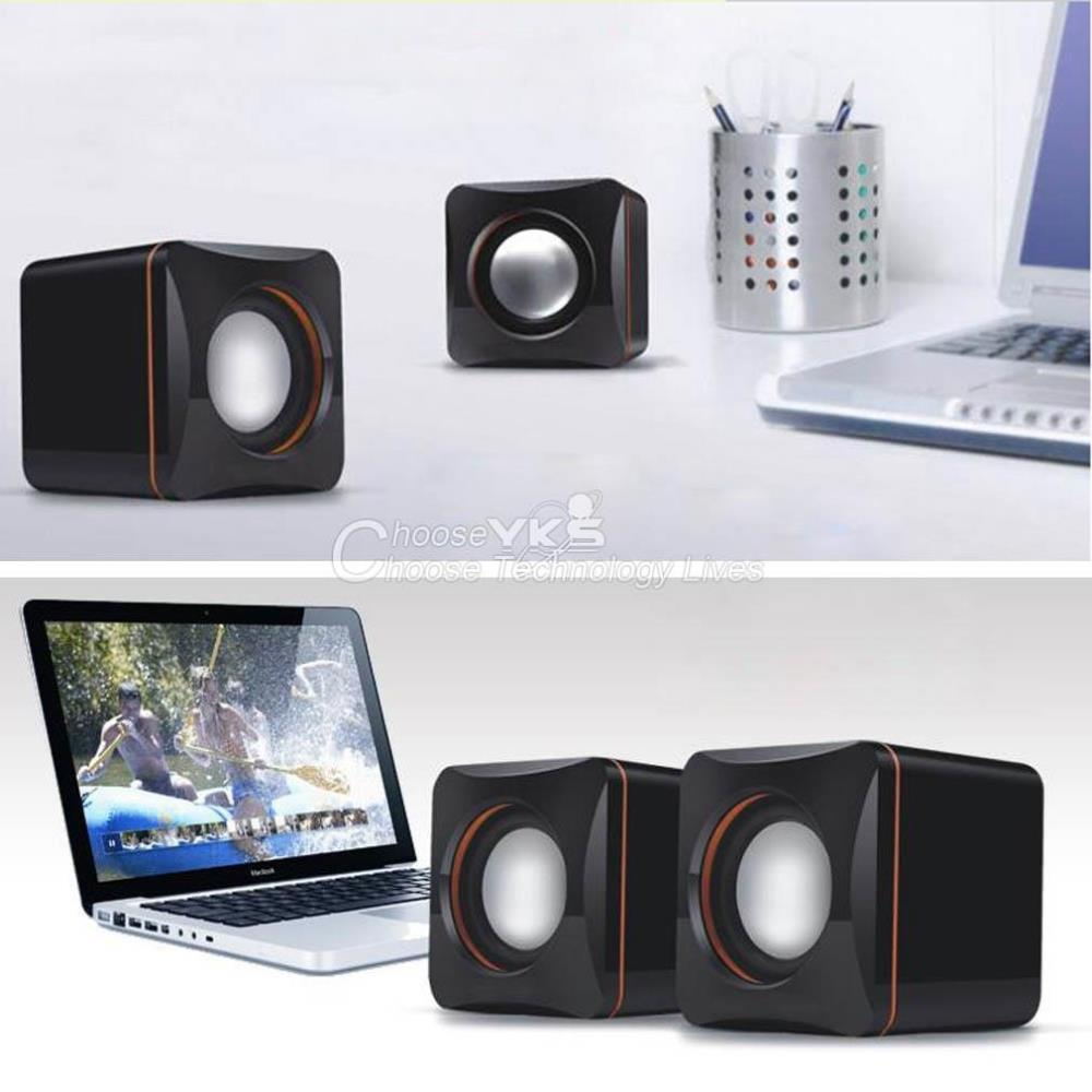 Mini Speake Stereo Portable Square Wired USB Audio Music Player Speaker MP3 Laptop PC No Recharging