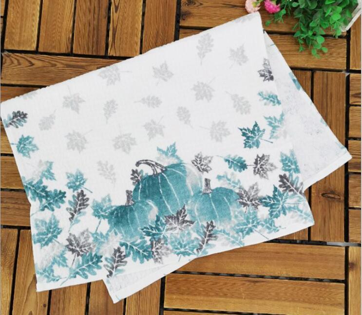 Pumpkins Printed Tea Towel Napkin Dish Towel Soft Absorbent Kitchen Clearing Cloth 100% Cotton 70x45cm