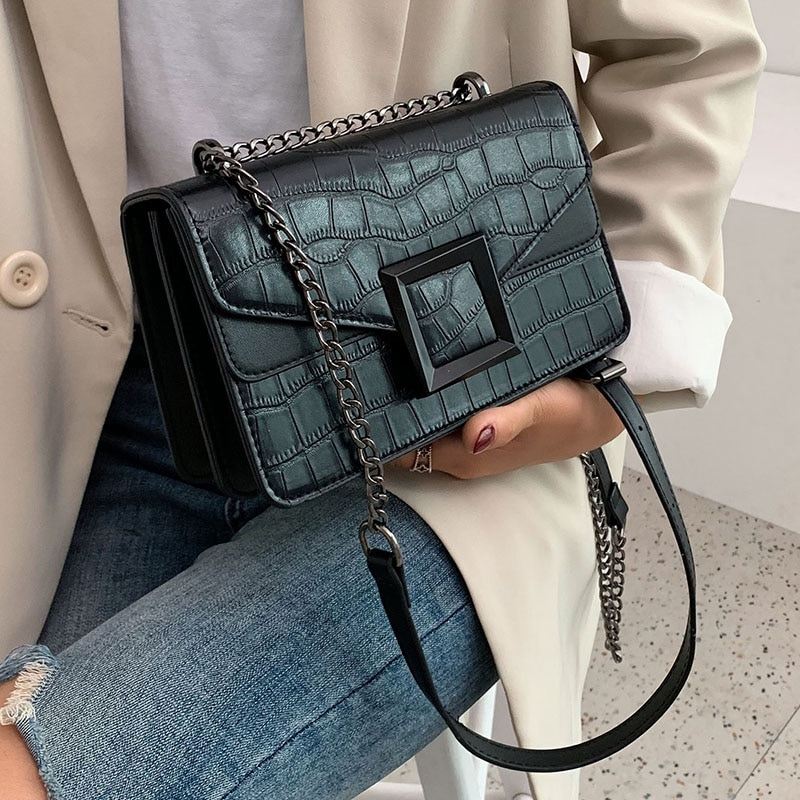 Stone Pattern PU Leather Crossbody Bags For Women 2021 Small Shoulder Simple Bag Female Luxury Chain Handbags and Purses
