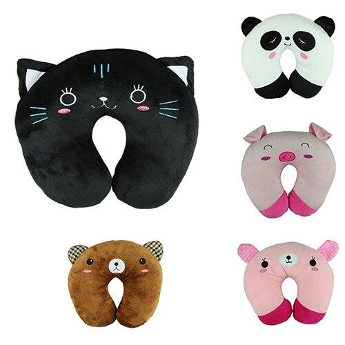 وسادة مسند للرقبة على شكل حرف U ، حيوان كرتوني لطيف ، وسادة سفر ، مسند رأس ، باندا ، قطة ، دب ، أرنب ، خنزير