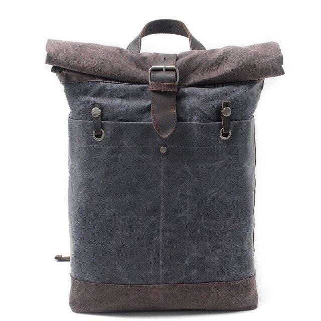 New Luxury Vintage Canvas Backpacks for Men Oil Wax Canvas Leather Travel Backpack Large Waterproof Daypacks Retro Bagpack